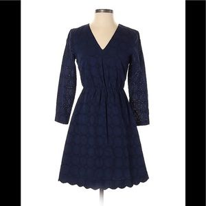 New JCrew Navy Blue V-neck Long Sleeve Lace Dress